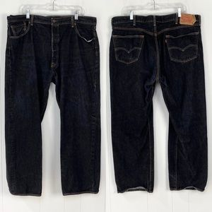 Levi's 501 Black Button Fly Straight Jeans 44 x 32